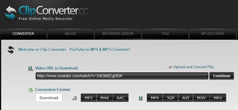 download portion youtoube clipconverter step1