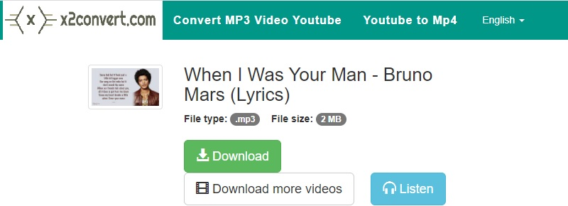 youtube to mp3 not working x2convert interface
